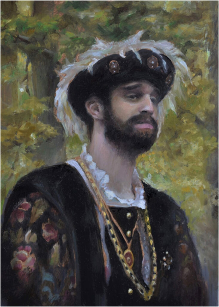 SECOND PLACE: Madrigal Man, Oil by Christine Dixon, 7in x 5in, $250 (Dec. 2019 - Jan. 2020)