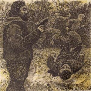 Man with a Gun, Ink on Clayboard by Phyllis Graudszus, 6.25in x 8.75in, NFS (Dec. 2019 - Jan. 2020)