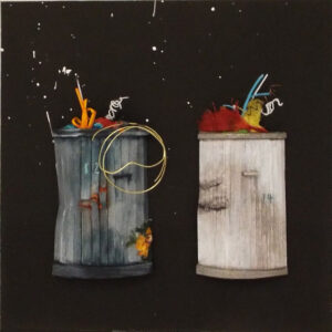 Trash Cans No. 12 & 14, Paper Construction by Katharine Owens, 11in x 11in x 2in, $245 (Dec. 2019 - Jan. 2020)