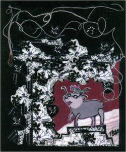 Year of the Pig, Mixed Media Collage by Teresa Blatt, 6in x 5in, $150 (Dec. 2019 - Jan. 2020)
