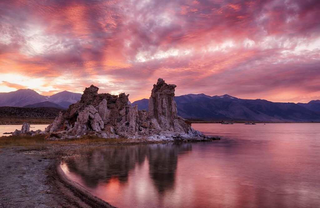 HONORABLE MENTION: Twilight and Tufa Formations, Photography by Mary Lynne Wolfe, 13in x 20in, $175 (February 2020)
