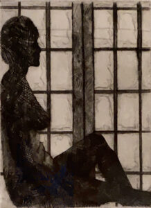 Comfortable with Myself, Intaglio Print by Elizabeth Byrnes, 24in x 18in, $100 (Feb-May 2020 CBTC)