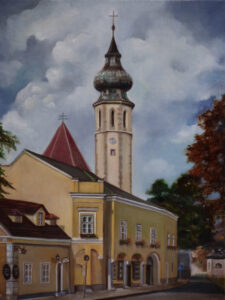 Grinzinger Hauptstrasse, Vienna, Austria, Oil by Christine Dixon, 24in x 18in, $700 (Feb-May 2020 CBTC)