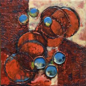 Thrice, Encaustic by Sally Rhone-Kubarek, 12in x 12in, $350 (Feb-May 2020 CBTC)