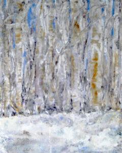 Winter Woods, Encaustic by Sally Rhone-Kubarek, 25in x 20in, $300 (Feb-May 2020 CBTC)
