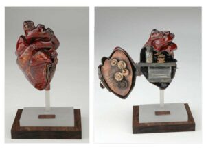 Broken Heart, Copper, Bronze, Enamel, Acrylic, Wood Sculpture, by Aimee Howard (September 2014)