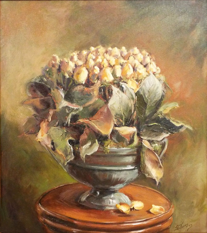 HONORABLE MENTION: Yellow Roses, Oil Painting by Beverly Toves (October 2014)