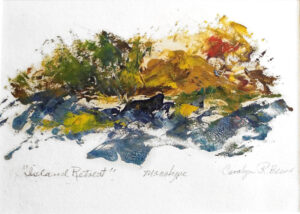 Island Retreat, Monotype and Oil by Carolyn R Beever (December 2014/January 2015)
