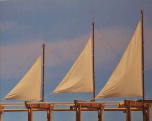 Three Sails Collioure, Metallic Photograph by Deborah D. Herndon (March 2014)
