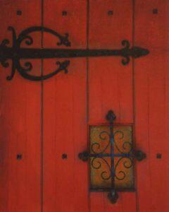Red Door, St Augustine, Metallic Photograph by Deborah Herndon (July 2014)
