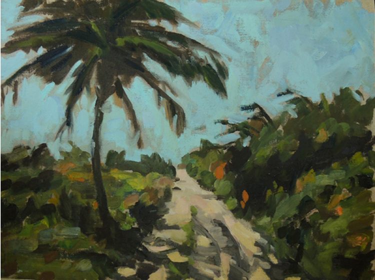 HONORABLE MENTION: Palm Along the Road, Oil on Linen by Deborah Wyatt (March 2014)