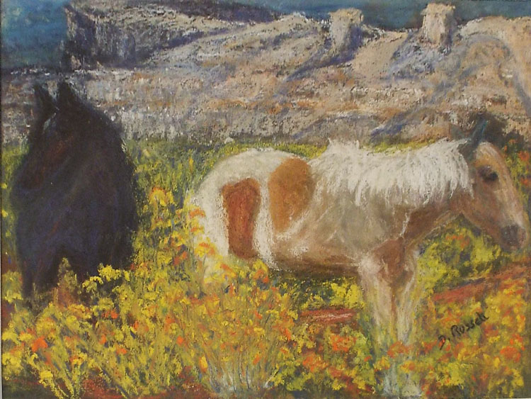 HONORABLE MENTION: Southwest Landscape, Pastel by Diane B Russell (October 2014)