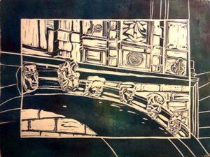 Bridge of Sighs, Linocut by Erin Watson (February 2014)