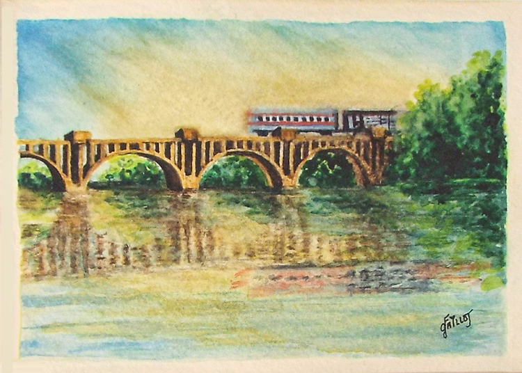 THIRD PLACE: Crossing the Rappahannock, Watercolor by Faith Gaillot (April 2014)