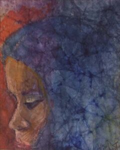 Girl with Blue Hair, Watercolor and Pastel by Gloria Affenit (December 2014/January 2015)
