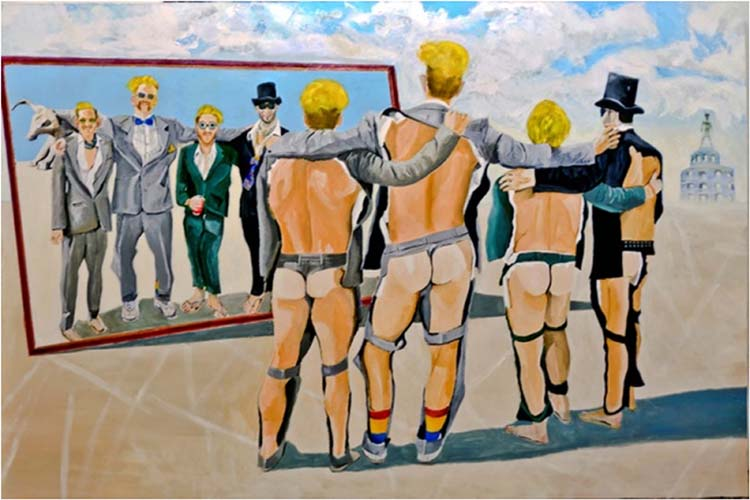 THIRD PLACE: Aussie Wedding Party at Burningman, Acrylic on Canvas by Issac Levenbrown (February 2014)