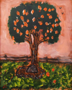 Tree in the Park, Acrylic painting by James Clark (June 2014)