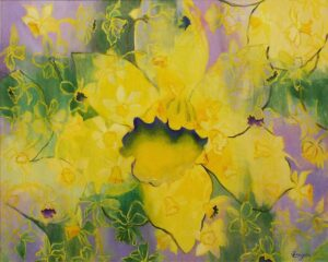 Spring Flowers, Acrylic Painting by Jean Lauzon (July 2014)