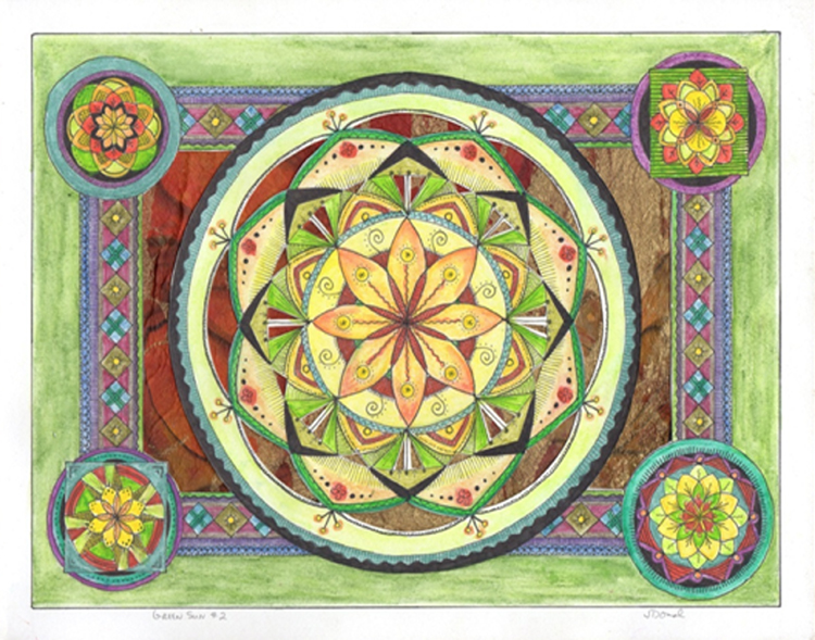 FIRST PLACE: Green Sun II, Ink, Watercolor, Pencil by Jennifer Domal (March 2014)
