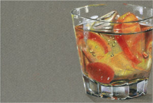 Old Fashioned, Prismacolor on Canson Toned Paper by Jessica Burke (December 2014/January 2015)