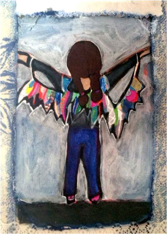 SECOND PLACE: S. with Wings, Mixed Media by Julia Travers (October 2014)