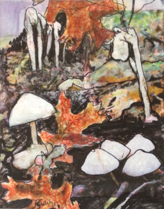 Mushrooms and Pipes, Acrylic and Photo Transfer by Karen Julihn (October 2014)