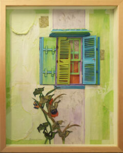 Key Lime Pie Shutters, Mixed Media by Katharine K Owens (April 2014)