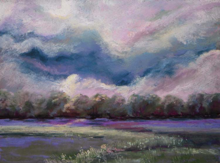 HONORABLE MENTION: Evening Clouds, Soft Pastel by Kathleen Willingham (June 2014)