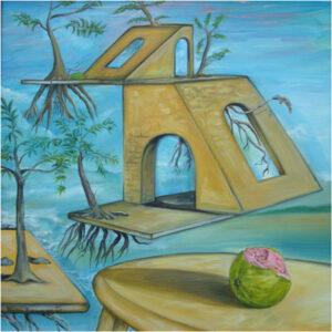 Guava Thief Hiding, Acrylic on Canvas by Krishana Banwaree  (October 2014)
