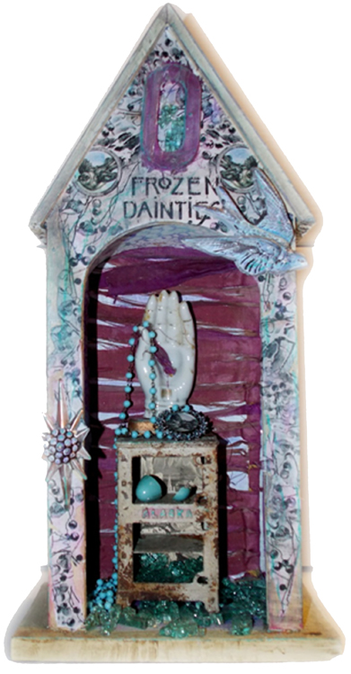 HONORABLE MENTION: Frozen Dainties, Mixed Media Assemblage 2 by Leslie Brier (February 2014)