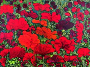 HONORABLE MENTION: Poppy Tapes, Acrylic on Canvas by Michelle Vezina Peterlin (July 2014)