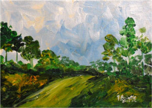 Down the Hill, Acrylic on Canvas by Patricia Brintle (December 2014/January 2015)