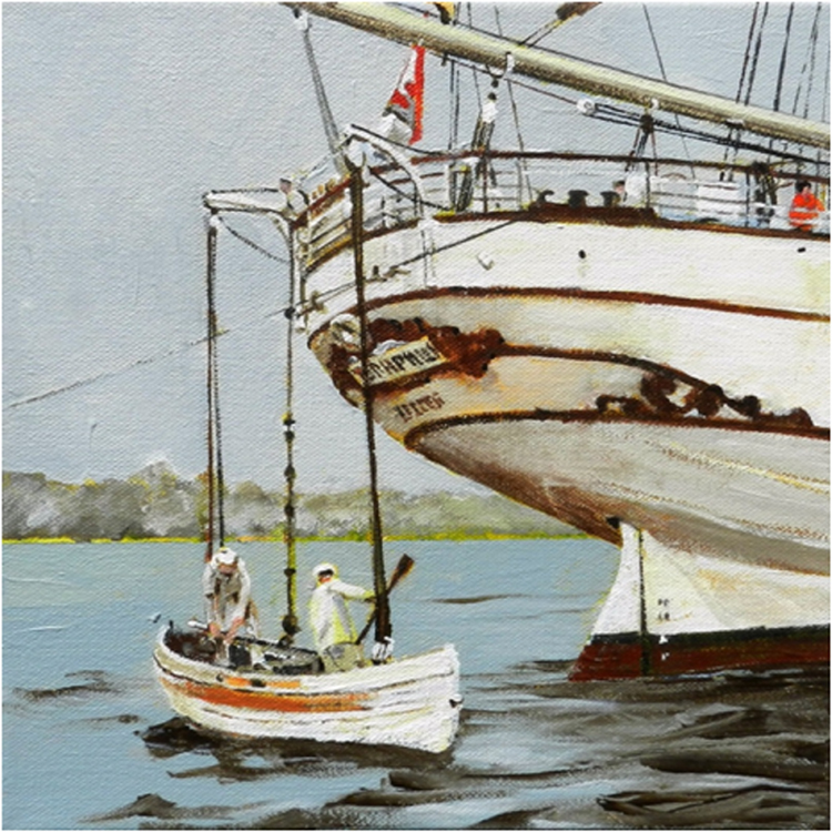 THIRD PLACE: Lower the Boat, Acrylic on Canvas by Paul Hitchen (December 2014/January 2015)