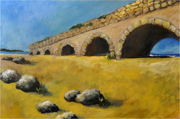 HONORABLE MENTION: Aquaduct Ruins at Caesaria, Acrylic by Peggy Wickham (April 2014)