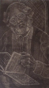 The Old Scholar, Ink on Clayboard by Phyllis Graudszus (December 2014/January 2015)