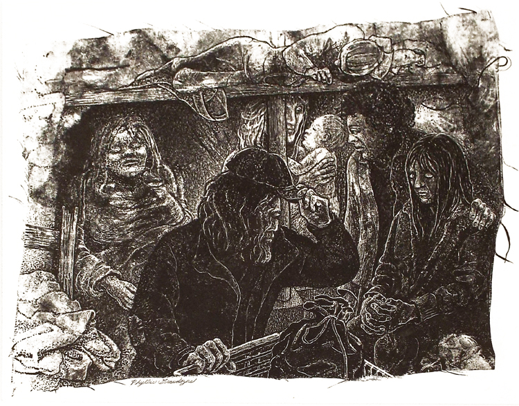 HONORABLE MENTION: The Shadow People, Ink on Clayboard by Phyllis Graudszus (October 2014)
