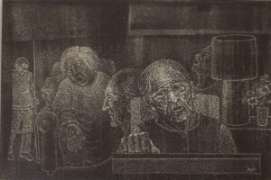 Waiting, Ink on Clayboard by Phyllis Graudszus (December 2014/January 2015)