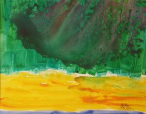 Emerald Eclipse, Watercolor Yupo by Rita Rose and Rae Rose (November 2014)