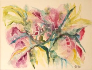 Spring Blush, Watercolor on Yupo by Rita Rose and Rae Rose (July 2014)