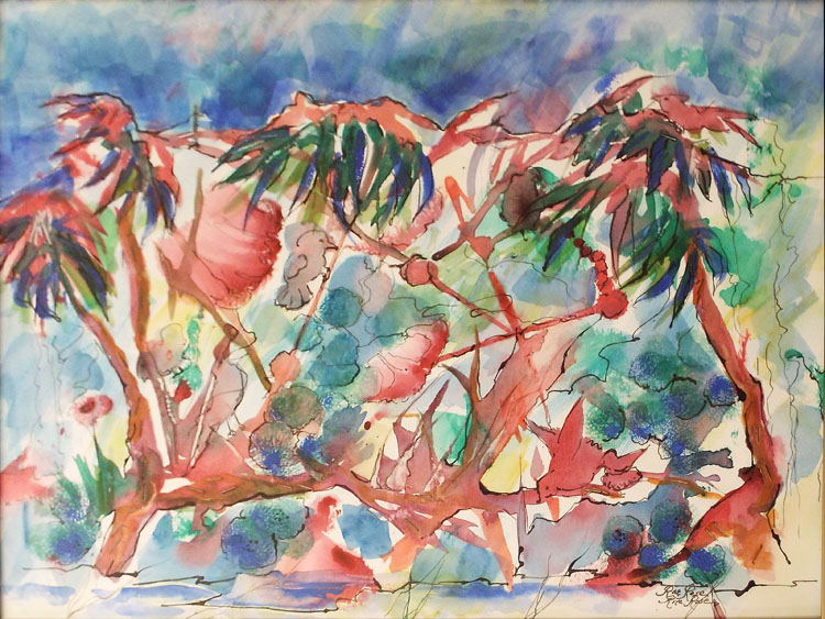 FIRST PLACE: Tropical Canopy, Watercolor and Ink by Rita Rose and Rae Rose (October 2014)