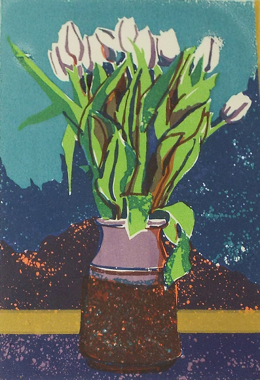 HONORABLE MENTION: Tulips, Screen Print by Sally Rhone (December 2014/January 2015)