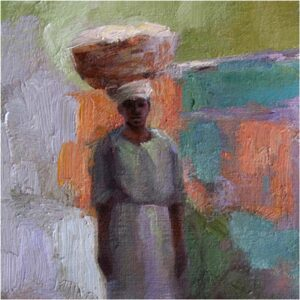 Haitian Laundress, Oil Painting by Sharon Grubbs (July 2014)