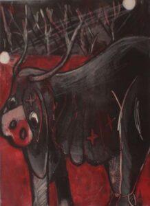 Two Lunes and Bovine, Monoprint by Susan Garnett (December 2014/January 2015)