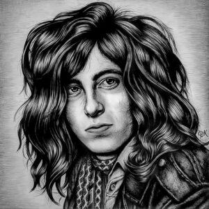 Jimmy Page, Ballpoint Pen on Paper by David Kennedy, 18in x 18in, $150 (July 2020)