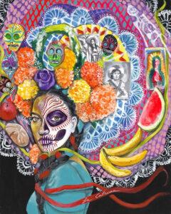 La Catrina, Acrylic on Canvas by Tronja Anglero, 30in x 24in, $950(July 2020)