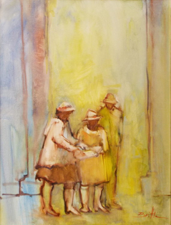 HONORABLE MENTION: Checking the Gallery Map, Oil on Canvas by Nancy Brittle (May 2016)