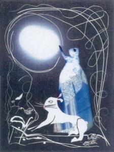 Hare and Moon, Mixed Media Collage by Teresa Blatt  (May 2016)