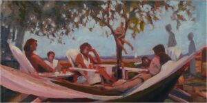 Afternoon Delight, Colonial Beach, Oil by Marcia Chaves, 12in x 24in, $325 (August 2020)