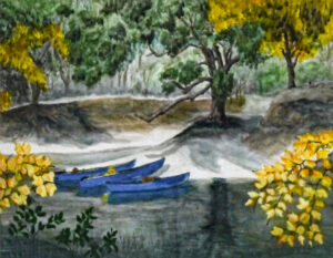 Blue Canoes, Watercolor by Taylor Cullar, $100 (Aug. 2020-Jan. 2021 CBTC)