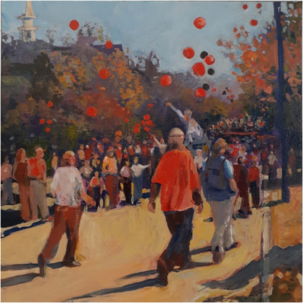 SECOND PLACE: Homecoming on the Avenue, Oil by Marcia Chaves, 20in x 20in, $385 (August 2020)